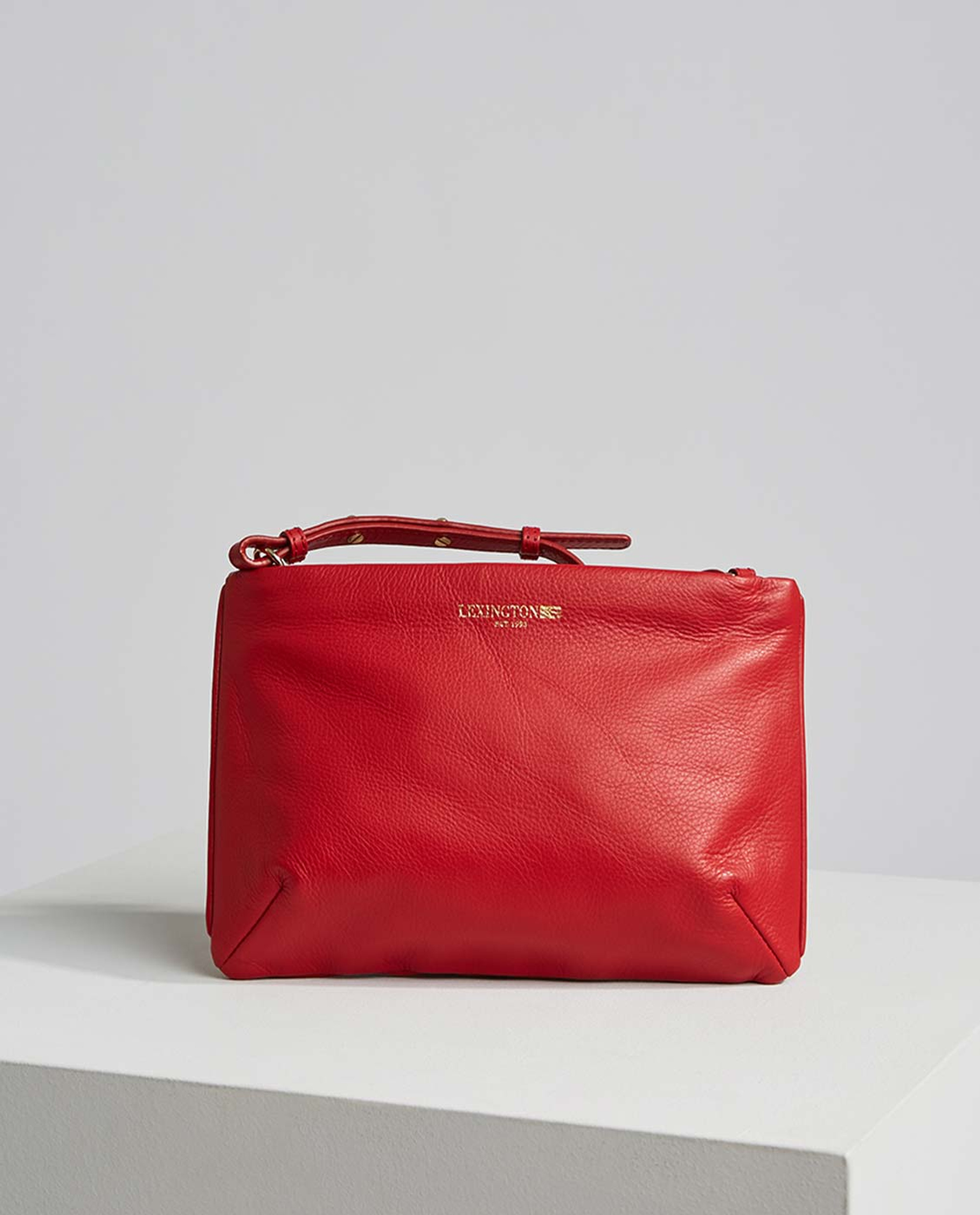 Trudy Leather Zip Bag, Red
