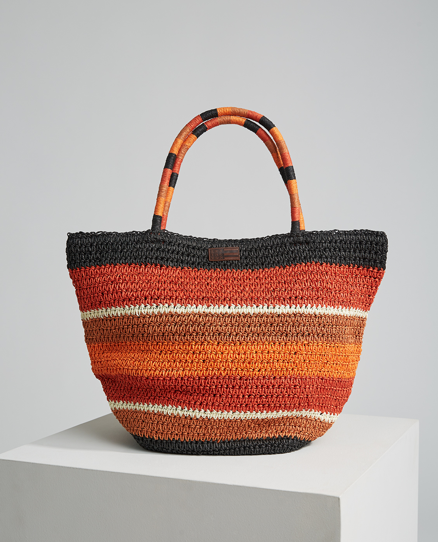 Rivington Straw Bag, Multi Stripe