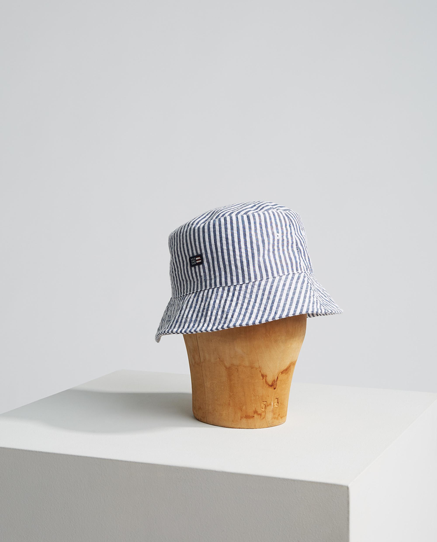 Bridgehampton Seersucker Bucket Hat, Blue/White Stripe