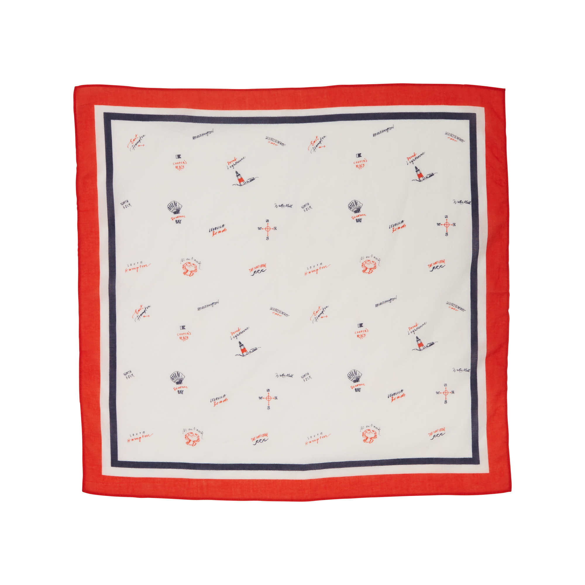 Dayton Bandana, Red Seaside Print