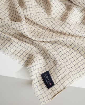 Jackson Scarf, Light Beige/Blue Check