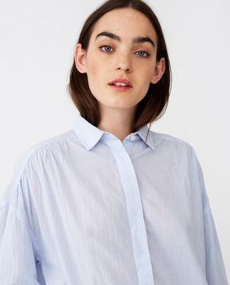 Olympia Shirt, BLue/White Stripe