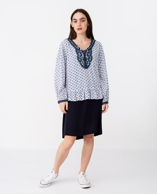 Cecilia Blue Flower Tunic