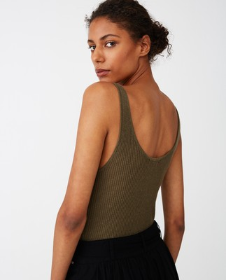 Linda Lyocell Rib Top, Green