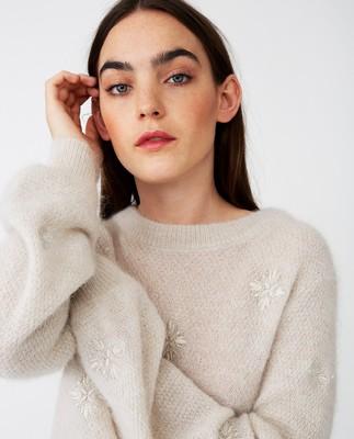 Adelia Alpaca Blend Sweater, Off White