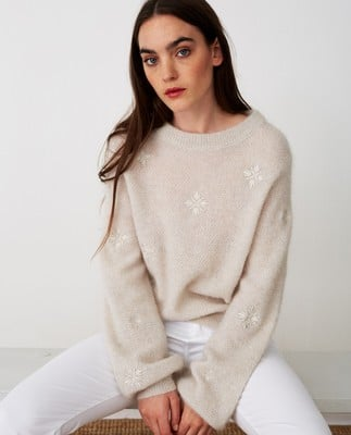 Adelia Alpaca Blend Sweater, Off White