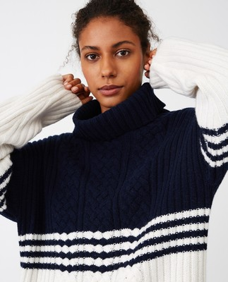 Susanne Cable Sweater, Blue/White Block Stripe