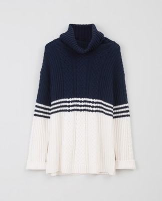 Susanne Cable Sweater, Blue/White Block Stripe