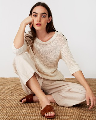 Tara Tape Yarn Sweater, Offwhite
