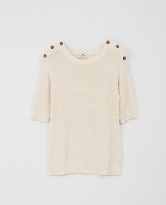 Tara Tape Yarn Sweater, Offwhite