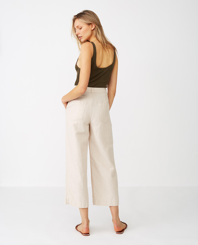 Lina Linen Pants, Light Beige