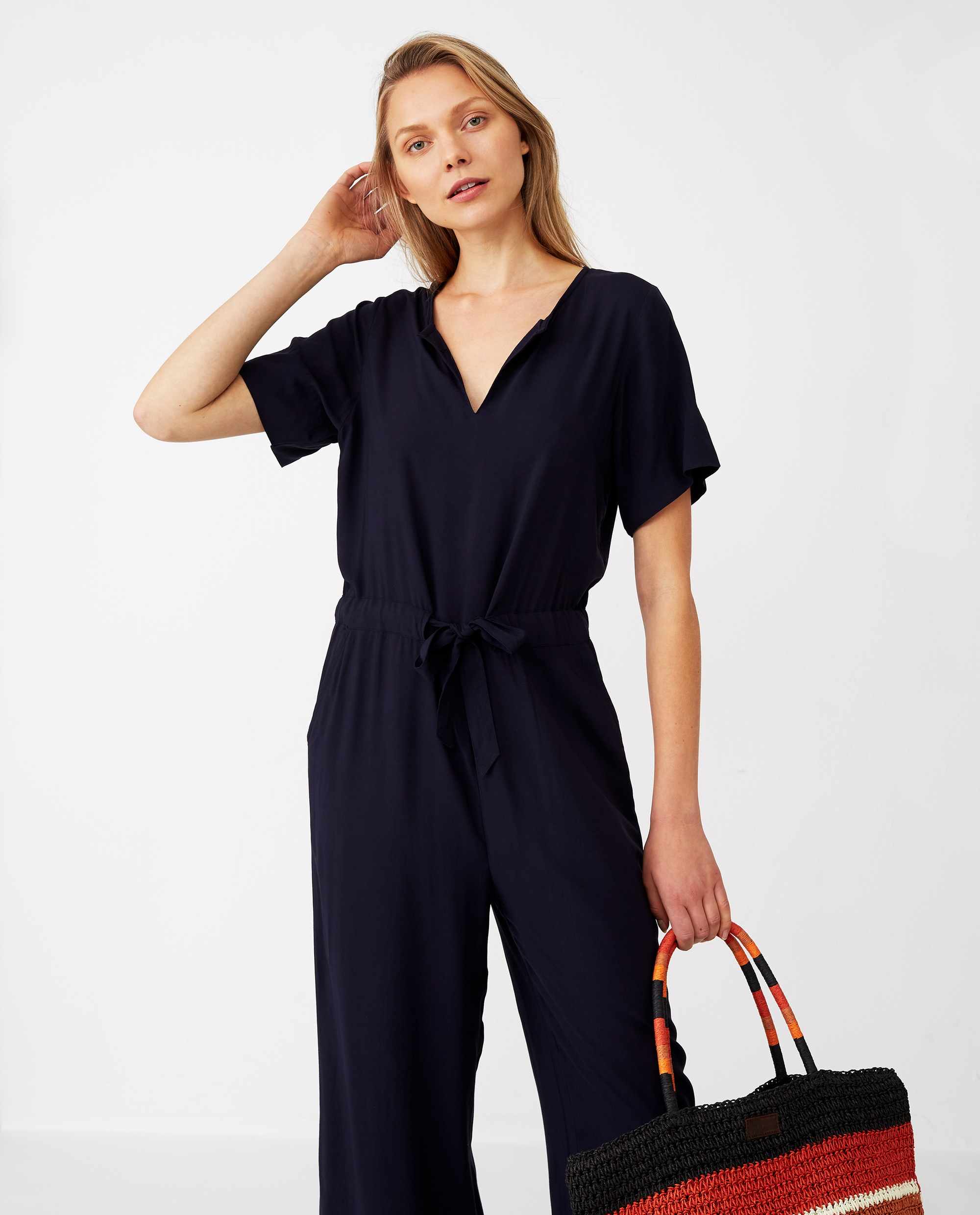 Kendell Solid Jumpsuit, Dark Blue