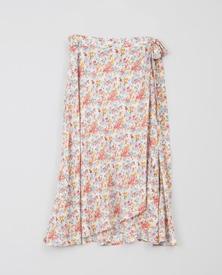 Rose Wrap Skirt, Meadow Print