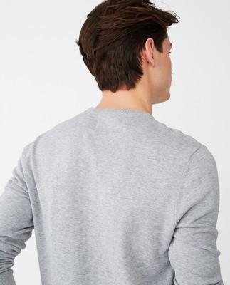Bradley Organic Cotton Crew Neck Sweater, Gray Melange