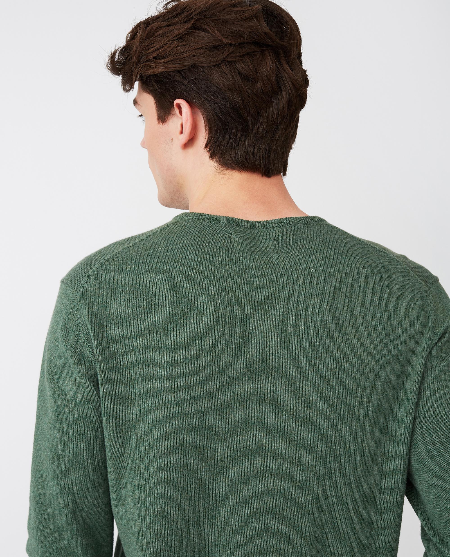 Bradley Organic Cotton Crew Neck Sweater, Green Melange