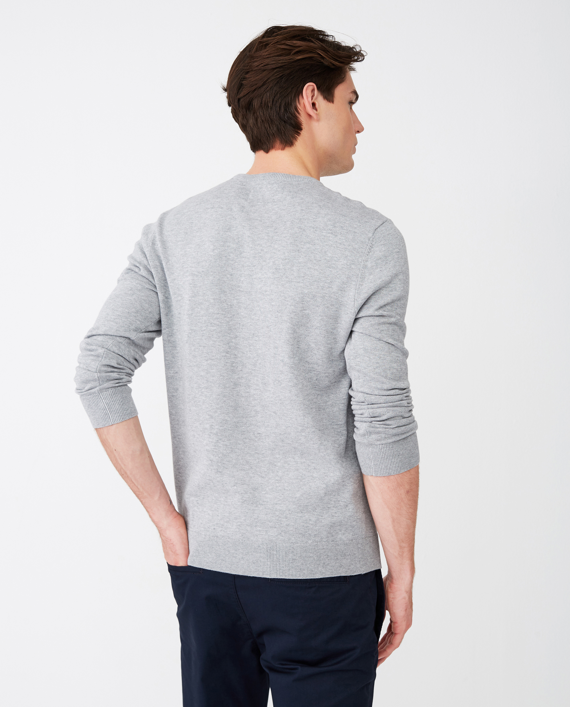 Bradley Organic Cotton Crew Neck Sweater, Gray Melange
