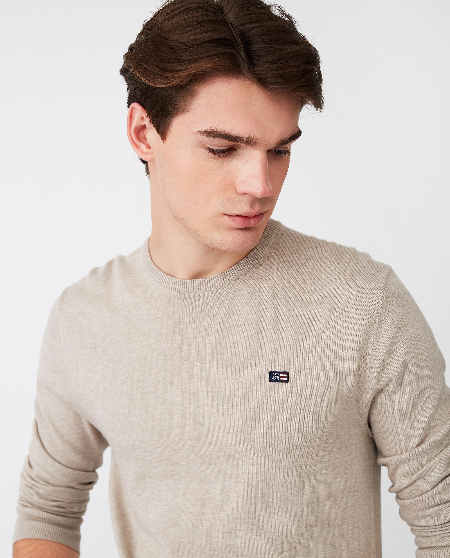 Bradley Crew Neck Sweater, Beige Melange