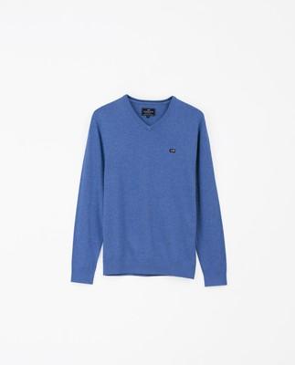 Allen V-Neck Sweater, Blue Melange