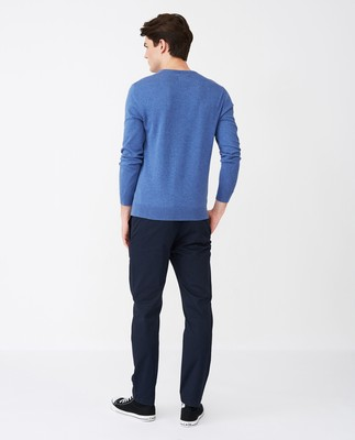 Allen V-Neck Sweater, Blue Melange