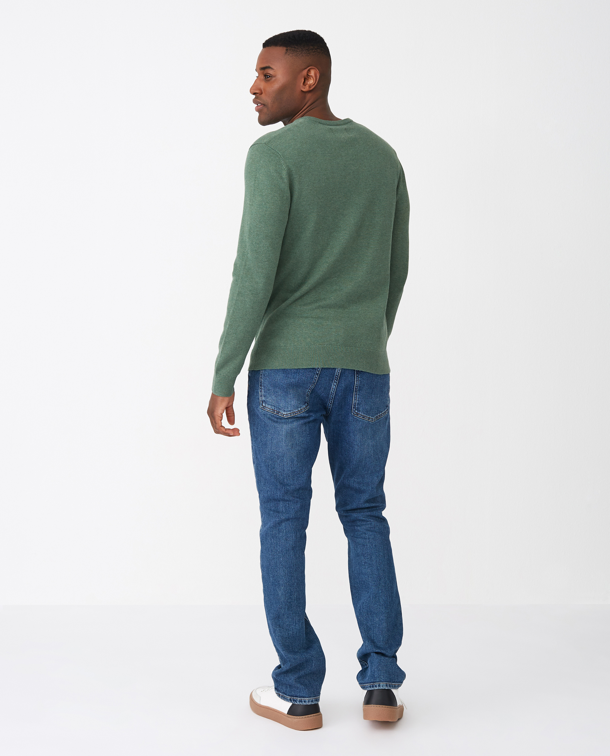 Allen V-Neck Sweater, Green Melange