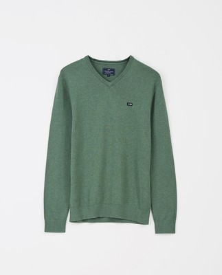 Allen V-Neck Sweater, Green Melange
