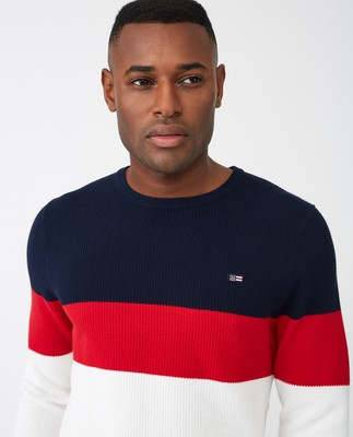 Graham Sweater, Red Multi Stripe