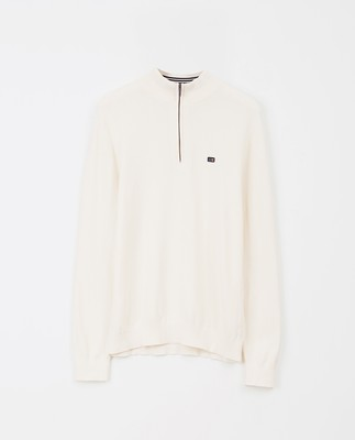 Clay Half Zip Sweater, White
