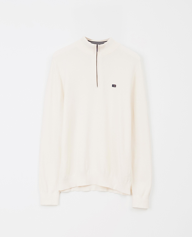 Clay Half Zip Sweater, White