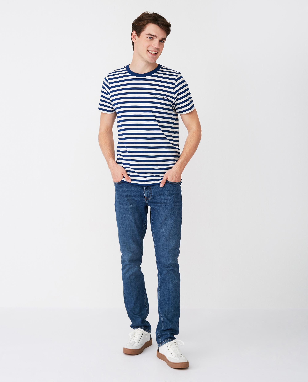 Bill Striped Tee, Blue/White