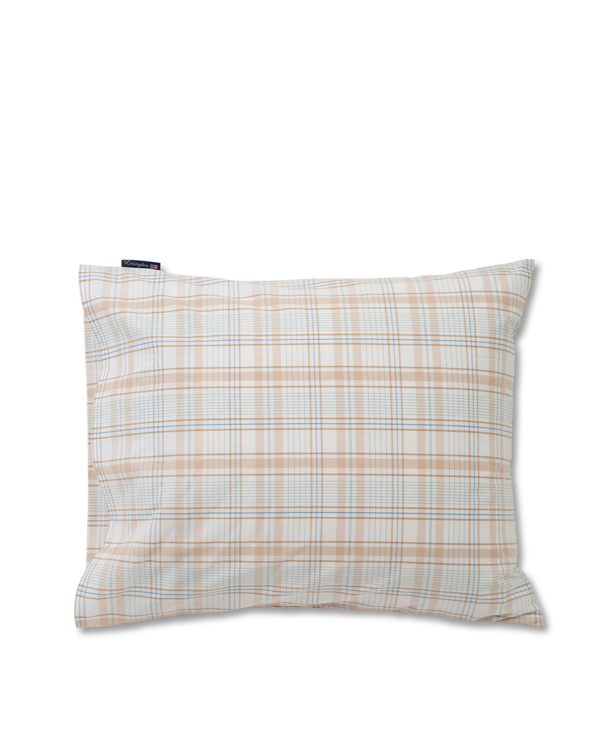 Beige Checked Madras Poplin Pillowcase, White/Beige
