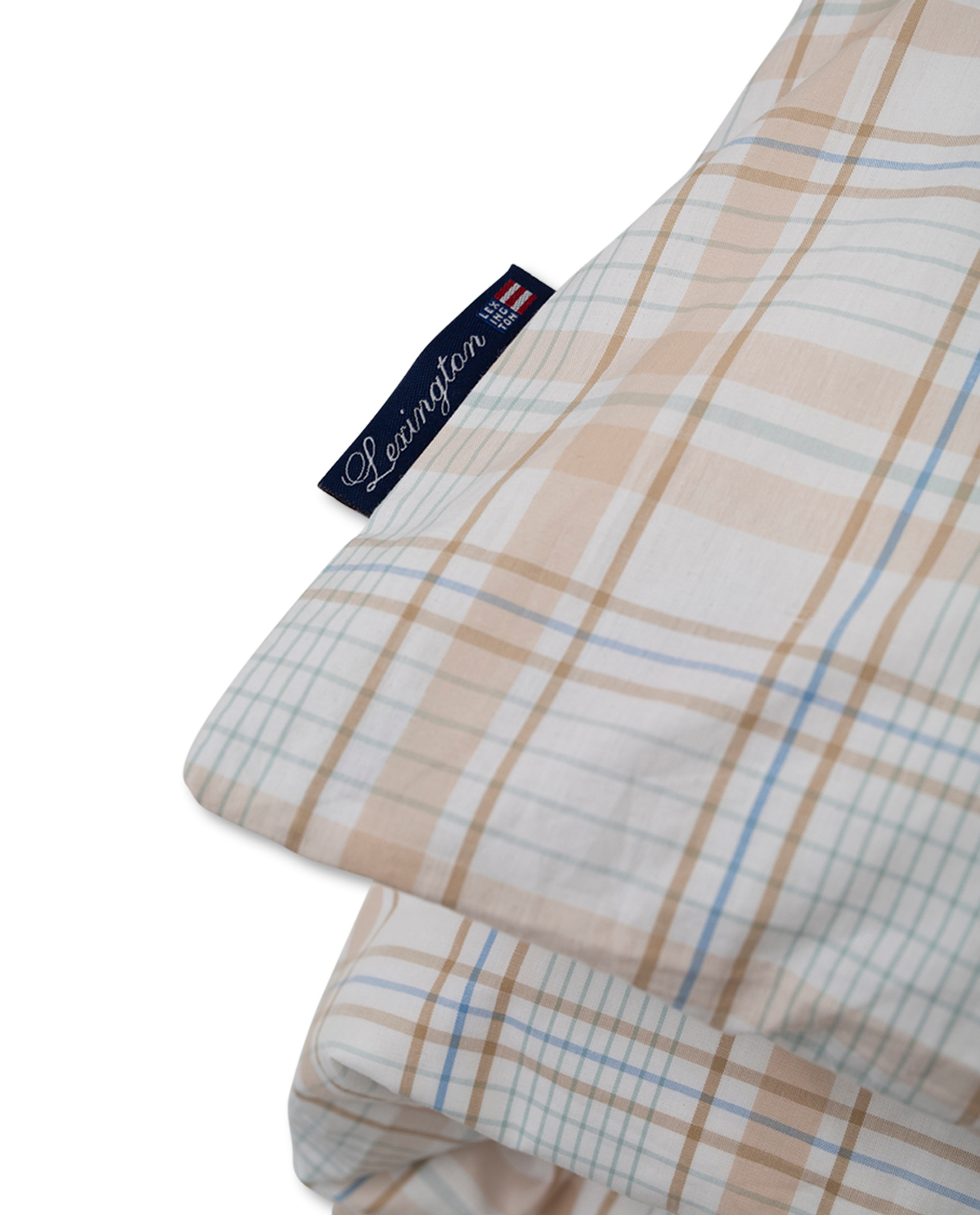 Beige Checked Madras Poplin Duvet, White/Beige