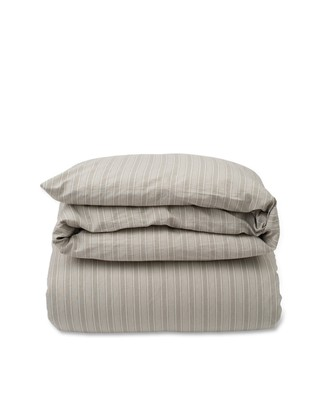 Lt Gray Striped Cotton Linen Duvet
