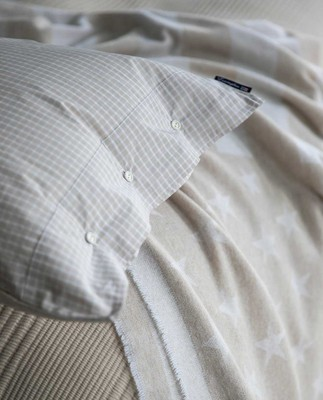 Beige Checked Tencel Pillowcase