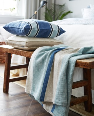 Striped Bedspread, Blue