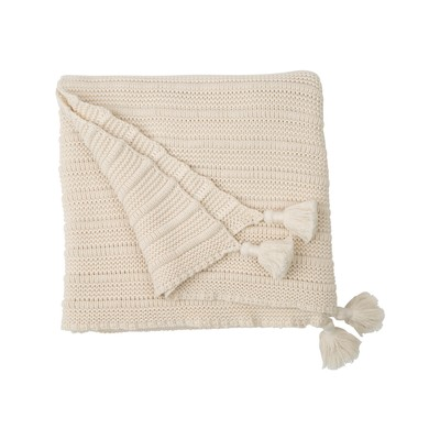 Knitted Tassel Throw, White