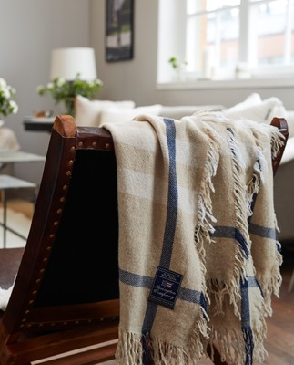 Checked Wool Throw, Beige/White