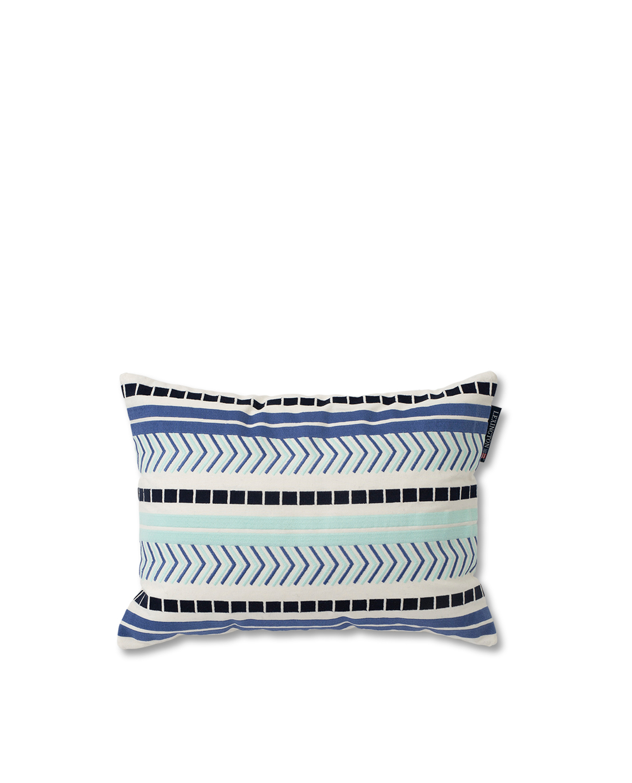 Embroidered Jacquard Sham, Blue/White