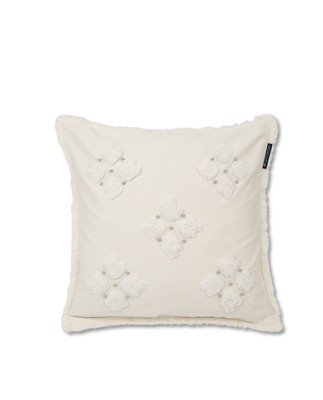 Fringe Flower Sham, White