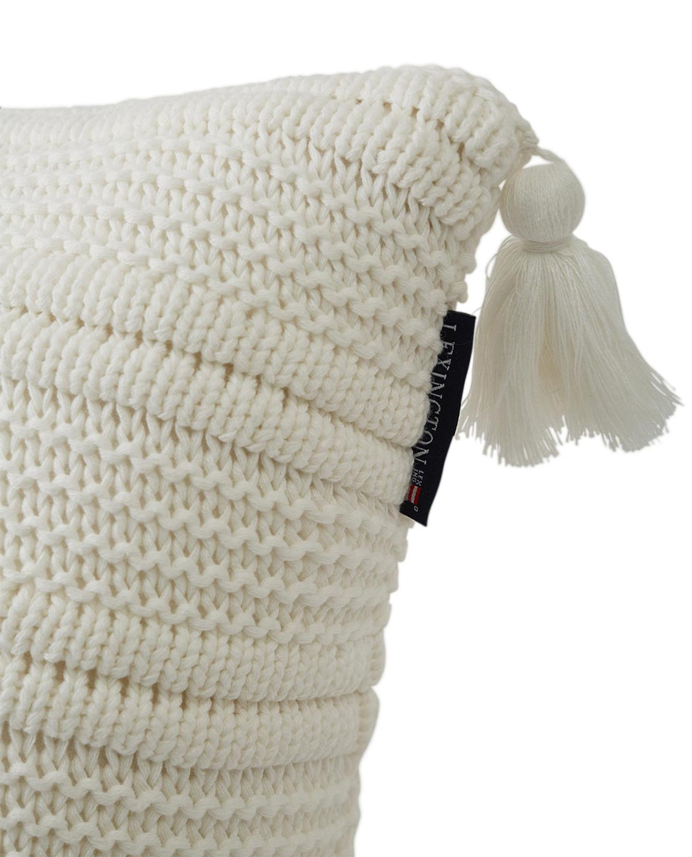 Knitted Tassel Sham, White