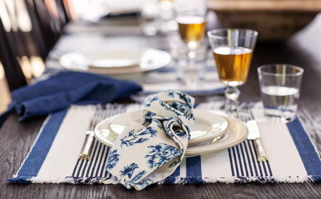 Striped Fringe Placemat, White/Blue