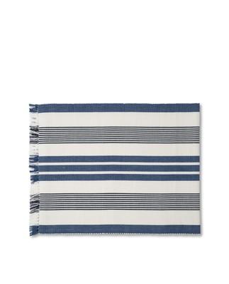 Striped Fringe Runner, White/Blue