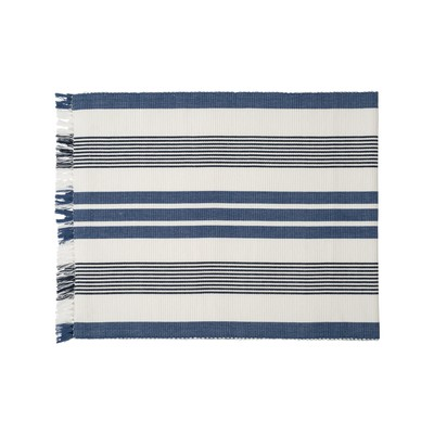 Striped Fringe Runner, White/Blue