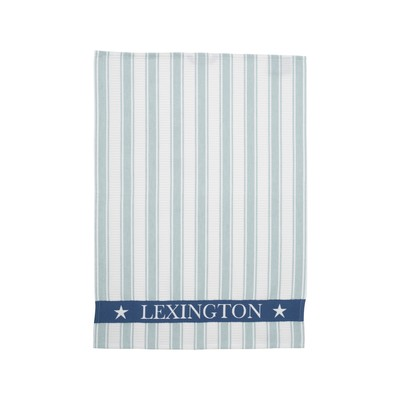 Striped Waffle Kitchen Towel, White/Blue