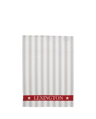 Striped Waffle Kitchen Towel, White/Gray