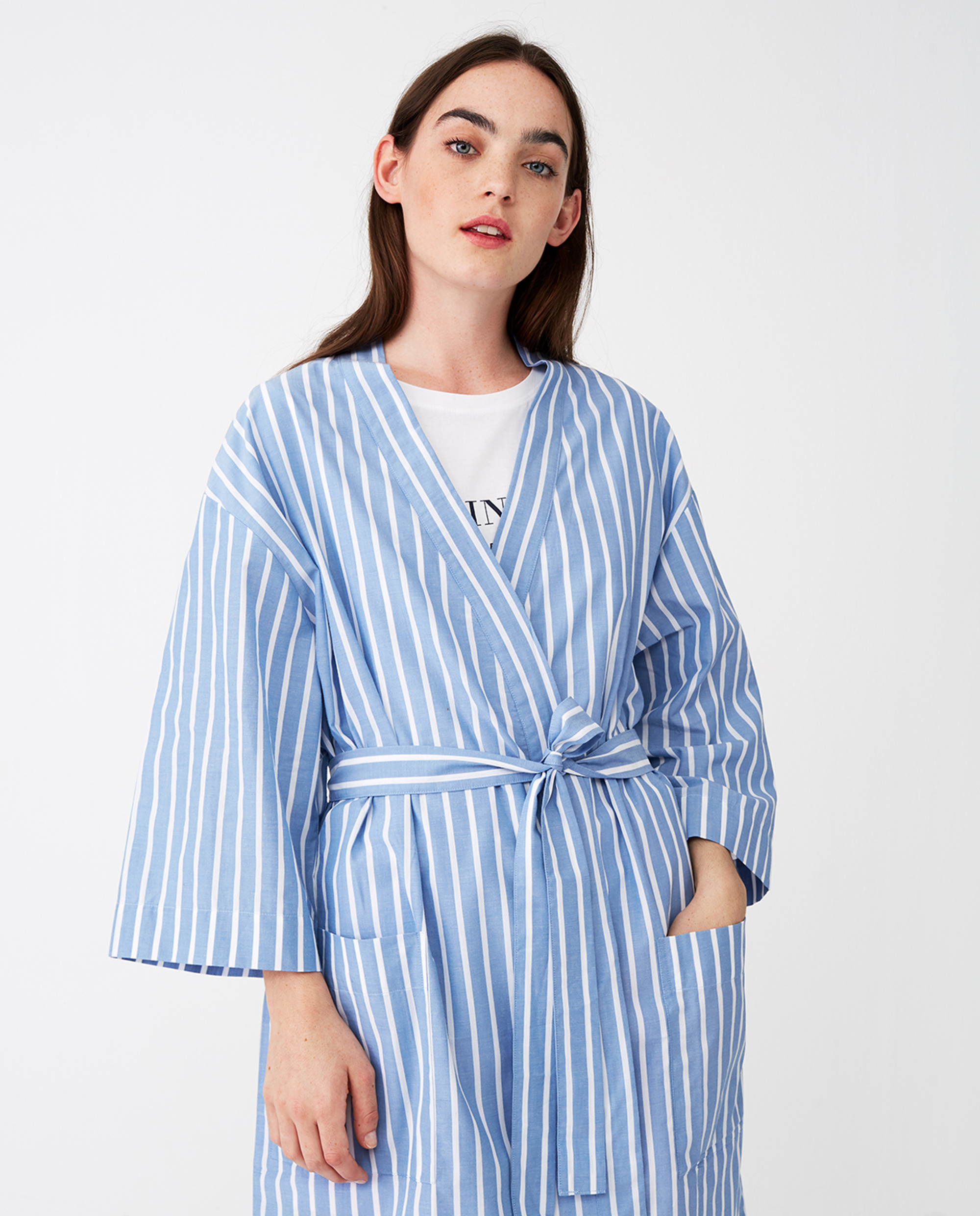Women's Organic Cotton Striped Kimono