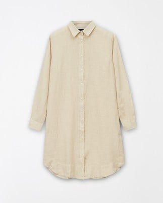 Isa Linen Shirt Dress, Light Beige