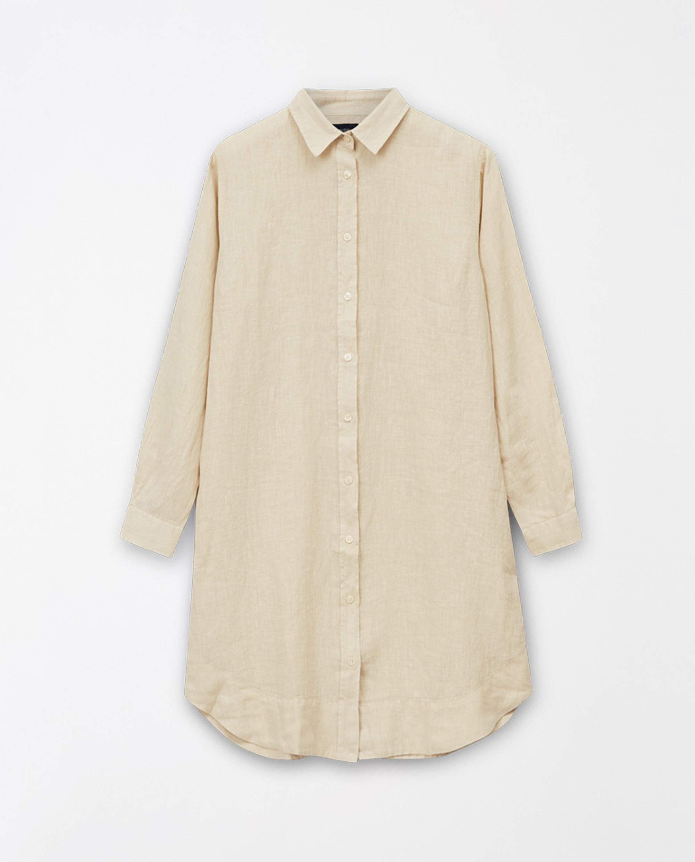 Isa Linen Shirt Dress, Light Beige