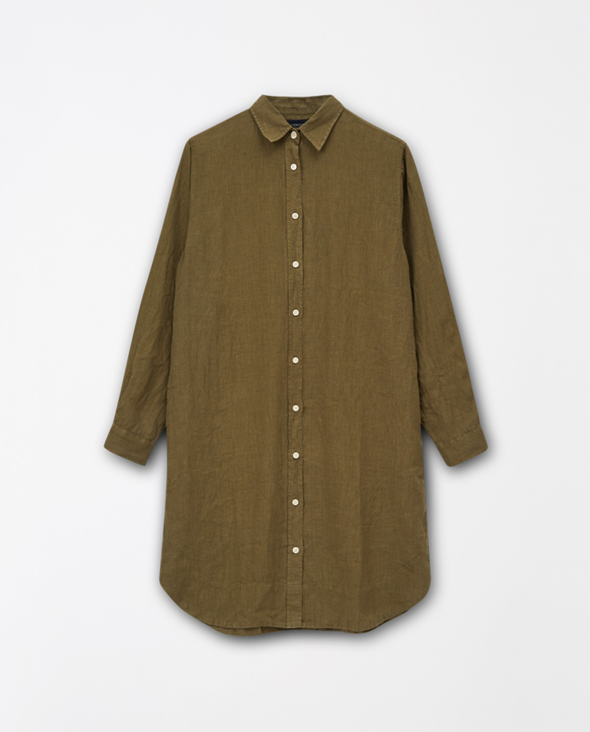 Isa Linen Shirt Dress, Green