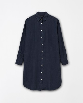 Isa Linen Shirt Dress, Dark Blue