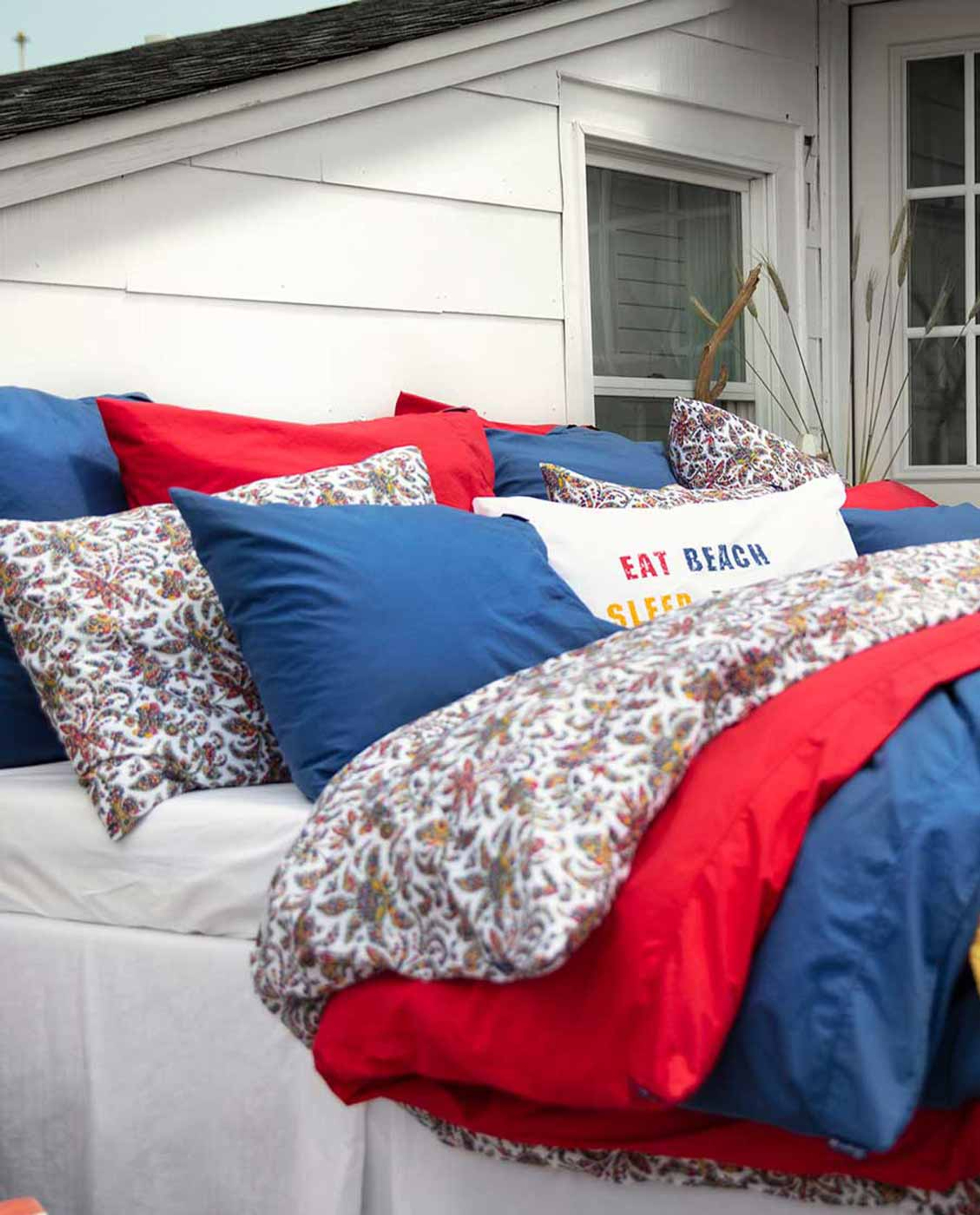 Red Washed Cotton Pillowcase
